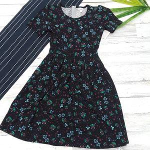 {Lularoe} Black Blue Floral Amelia Dress M
